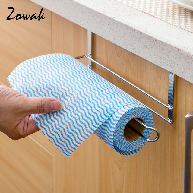 Wonderful Cabinet Paper Roll Storage Towel Holder Over Door Rack Hanger Stainless  Steel Organizer Hanging Bathroom Kitchen