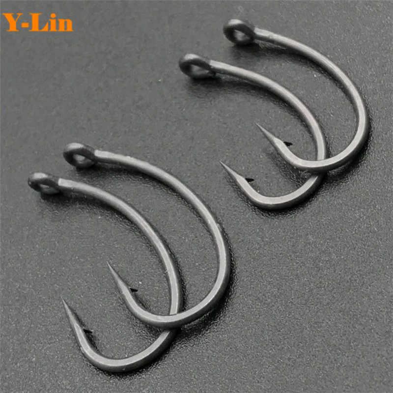 50//100//200pcs//lot Fishing Hooks Carbon Steel Circle Barbed Coated Bait Fishhook