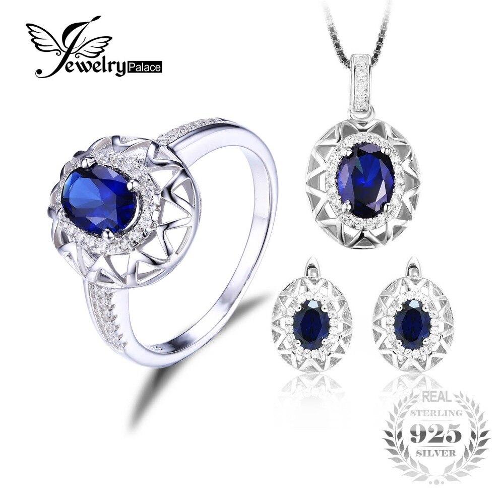 Jewelrypalace Oval 925 Prata Esterlina Jóias Conjunto Azul Criado Sapphire Anel Pingente Brinco Clipe Marca Para As Mulheres Finas Jóias