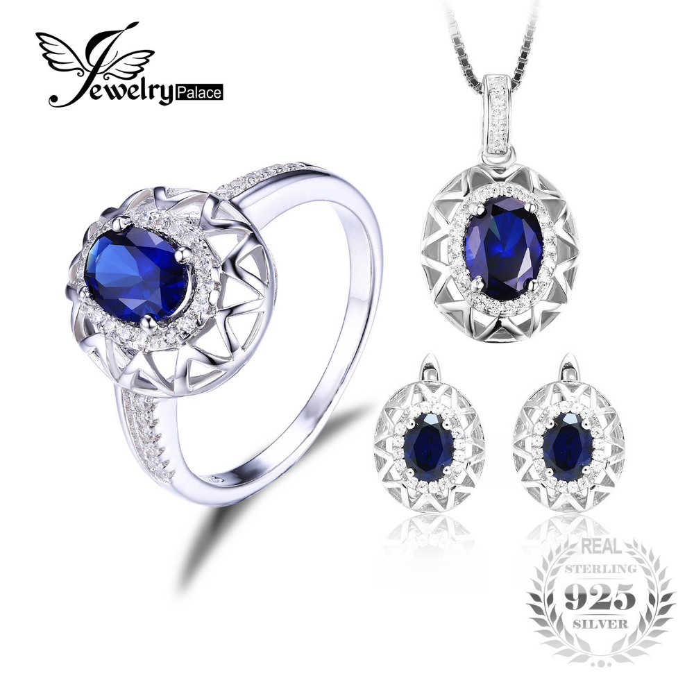 Jewelrypalace Oval 925 Sterling Silver Jewelry Set Blue Created Sapphire Ring Pendant Earring Clip Brand For Women Fine Jewelry цена