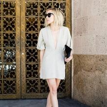 AEL, хлопковое льняное мини-платье, свободное, глубокий v-образный вырез, Летняя женская одежда, женская повседневная одежда