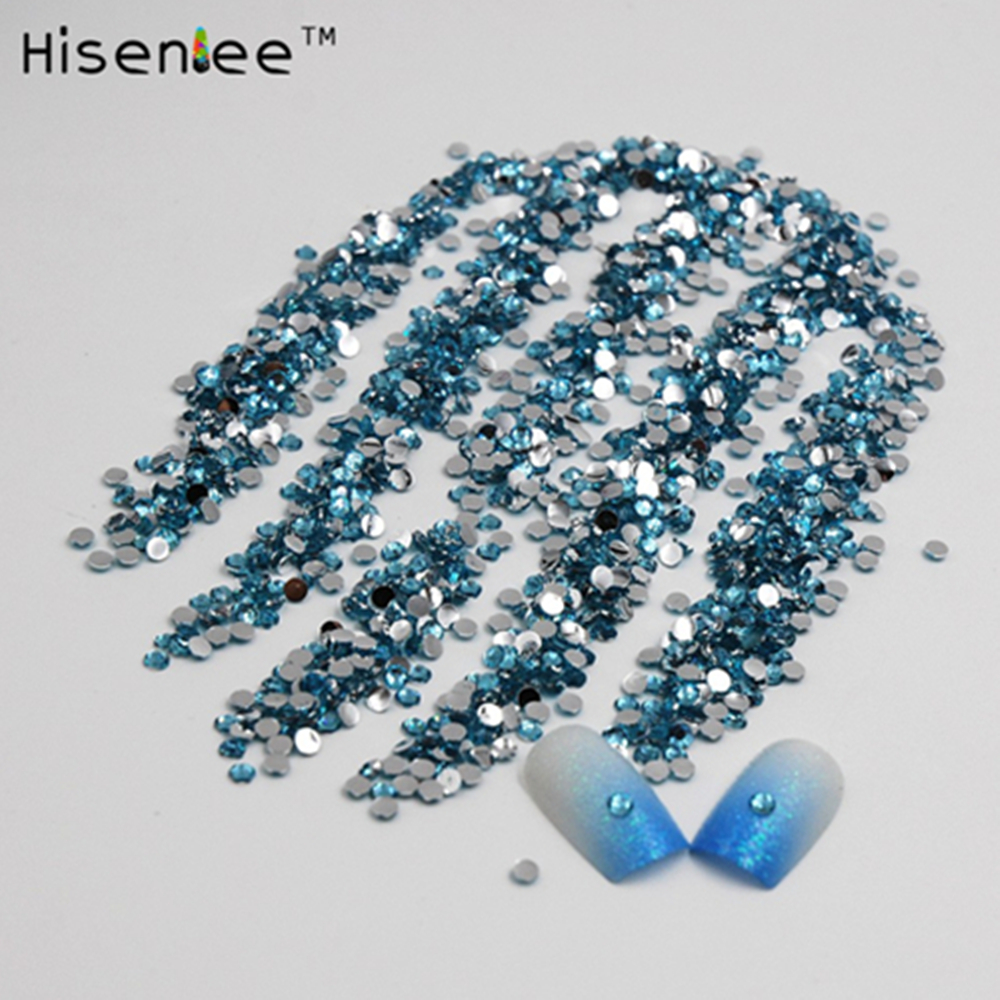 romation 2000Pcs 2mm Acrylic Resin Rhinestones Aquamarine Flat back For Nail Art Beauty accessories For Diy Components