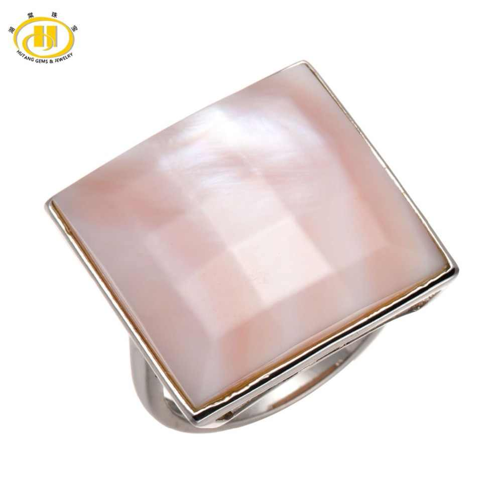 Hutang Pink Mother of Pearl Facet Solid 925 Sterling Silver Rings Statement Fine Jewelry For Women Gift