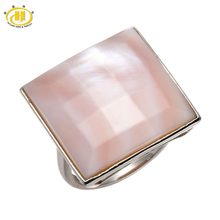 Hutang Pink Mother of Pearl Facet Solid 925 Sterling Silver Rings Statement Fine Jewelry For Women Gift(China)
