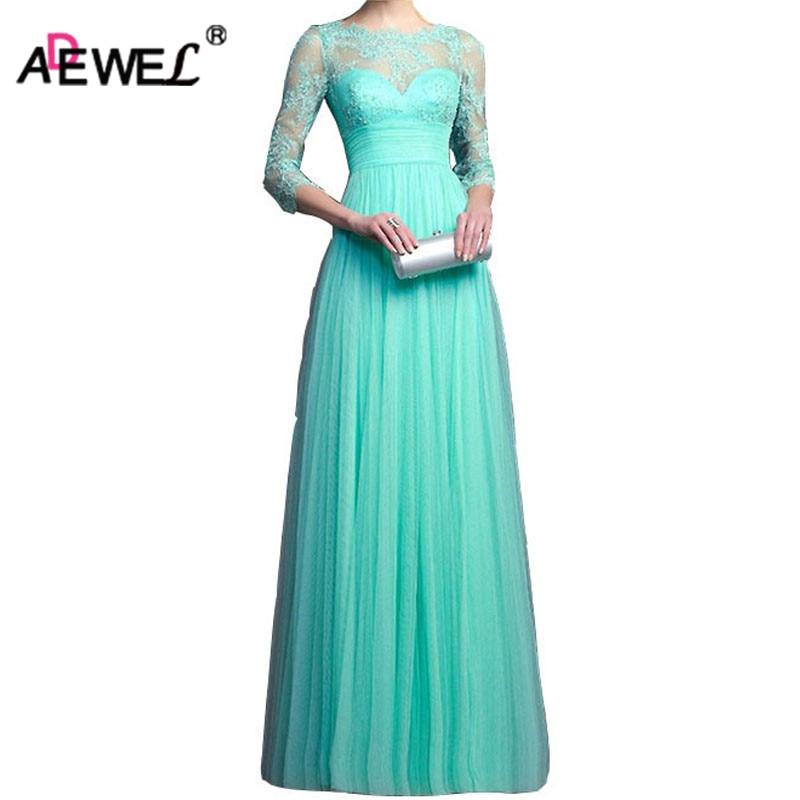 ADEWEL Formal Elegant Womens Floor-Length Evening Wedding Party Dress 3 Quarter Sleeve Chiffon Lace Maxi Long Dresses Robe