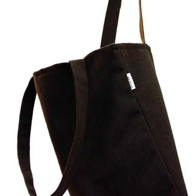 5876b72e6b8d Модная простая дизайнерская сумка для переноски через плечо черная  парусиновая сумка-шоппер Винтажный стиль тканевая