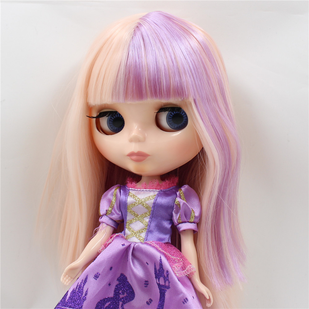 все цены на Factory Blyth Doll Nude Doll Long Straight Mixed Color Pink mix Purple Soft Hair 200BL2352/2137 30cm 1/6 doll онлайн
