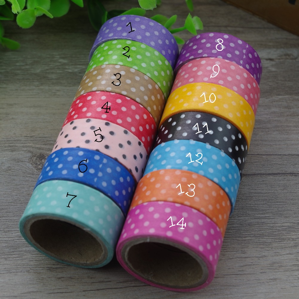 2017 new 3x polka dots japanese washi paper tape ruban adhesif cinta adhesiva decorative masking. Black Bedroom Furniture Sets. Home Design Ideas