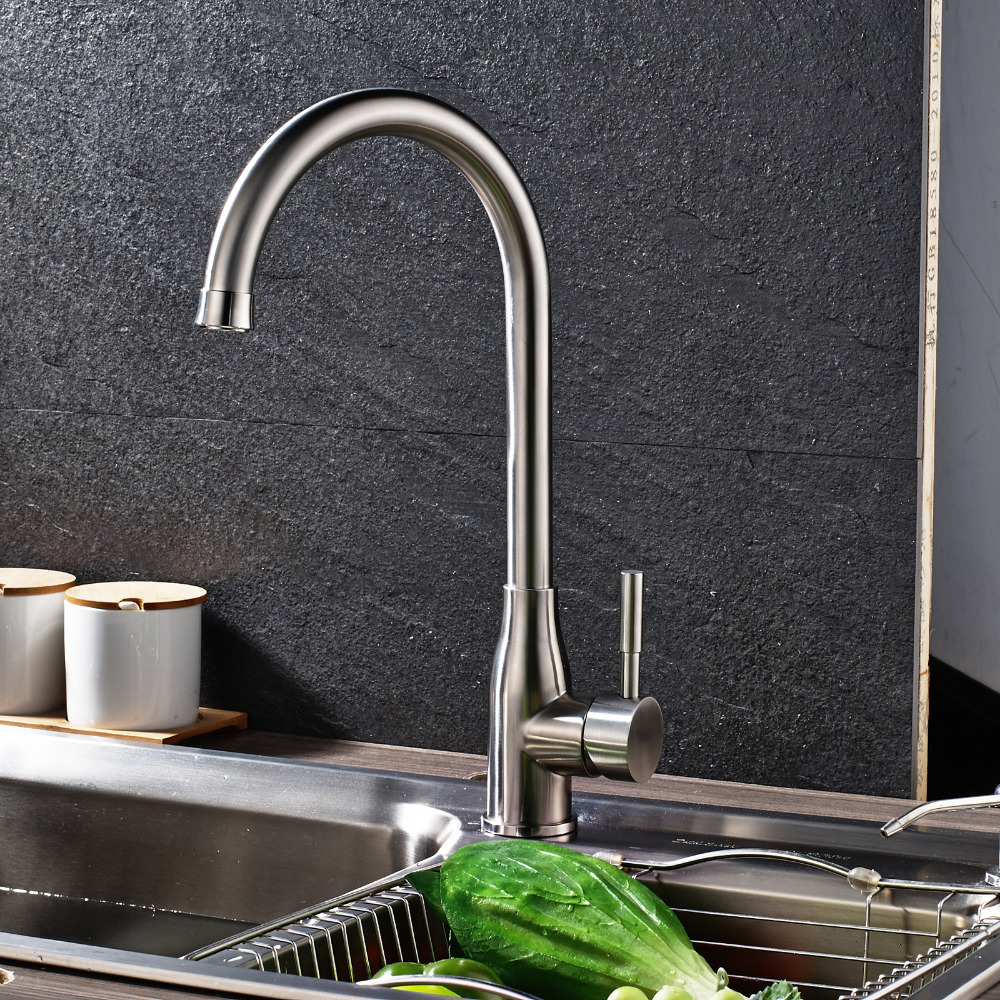Uythner Half Round Circle Spout Kitchen Faucet w/ Thick Base Mixer ...