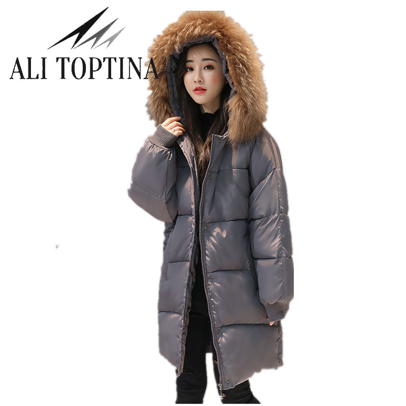 ALI TOPTINA 2017 Winter Cotton-padded Clothes Bread Long  Loose Coat Down Cotton  Large Fur Collar Warm Jackets Outerwear MF40  naim fraimlite level long cherry ali