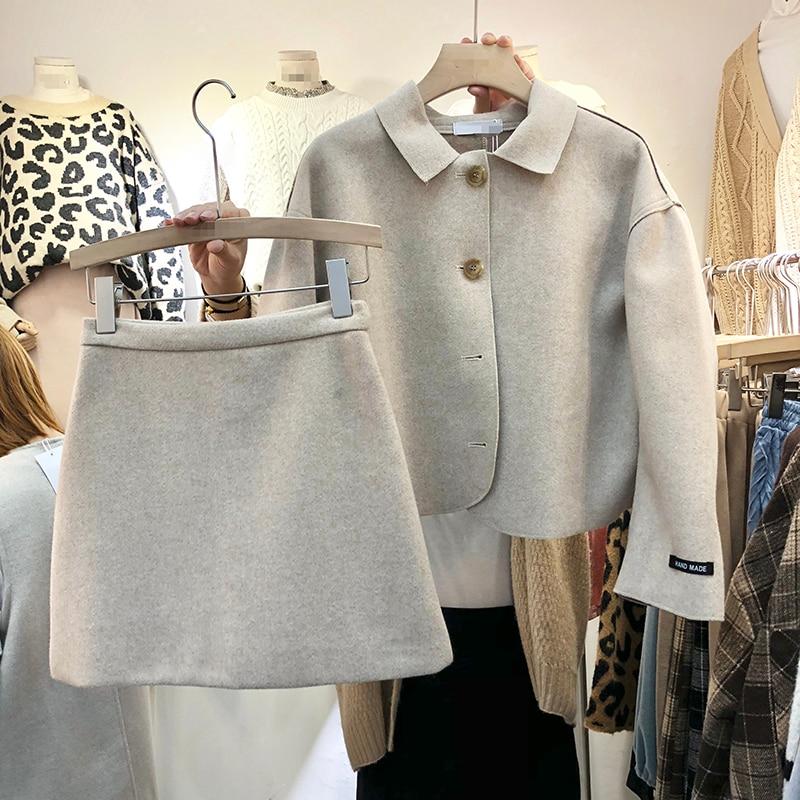 High Beige Suits Collar Jacket Down Waist Breasted Woollen New Autumn Women Shrot Jsxdhk Skirt Single Tweed Turn Coat Winter qCIapnwU