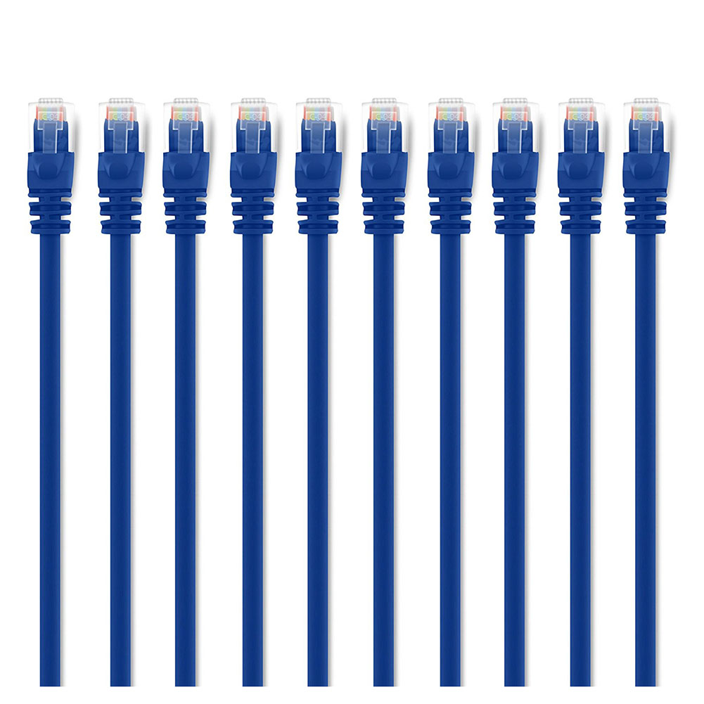 Snagless Rj45 Computer Lan Network Cord Orderly Hot-10-pack Cat5e Ethernet Patch Cable 3 Feet Blue Compatible With 10 Port Switc Elegant Appearance