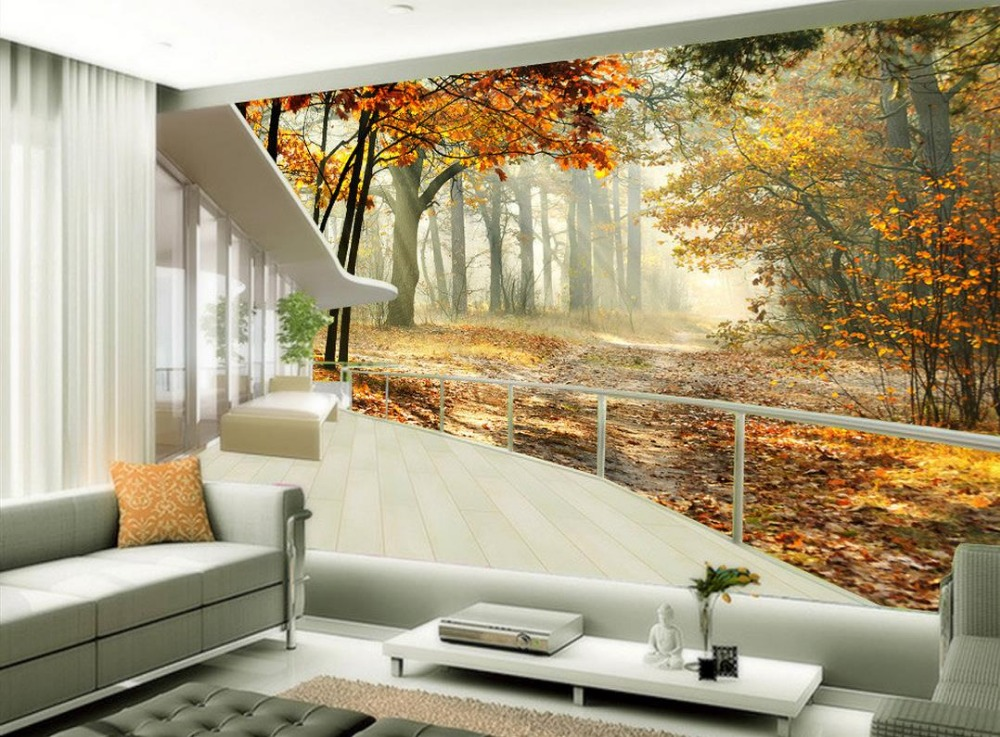 Modern Living Room Murals online get cheap 3d maple tree wall murals -aliexpress