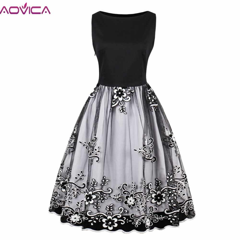 Aovica Spring Women Gorgeous Vintage Floral Embroidery Midi Dress Mesh Dress  Retro 50s Ball Gown Swing c1d5a61dfa66