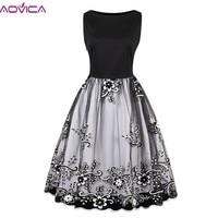 Aovica Spring Women Gorgeous Vintage Floral Embroidery Midi Dress Mesh Dress Retro 50s Ball Gown Swing Dresses Festa De Vestidos