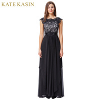 Kate Kasin Black Lace Evening Dresses Long Party Dress Cap Sleeve V Back Chiffon Prom Dresses
