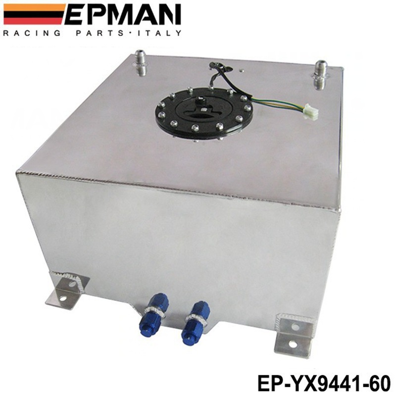 EPMAN 60L POLISHED ALUMINUM RACING/DRIFT/STREET FUEL CELL GAS TANK+LEVEL SENDER EP-YX9441-60 epman universal aluminum water to air liquid racing intercooler core 250 x 220 x 115mm inlet outlet 3 ep sl5046c