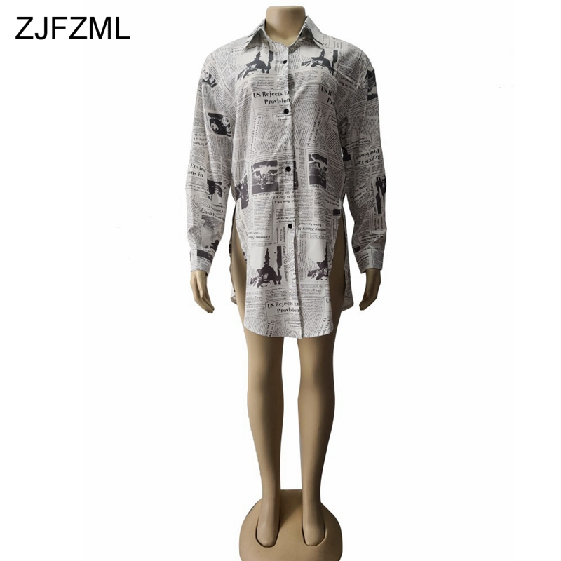 77c4ead254c22 ZJFZML Newspaper Print Sexy T Shirt Dress Women Turn Down Collar Long  Sleeve Loose Dress Casual Double Side Slit Plus Size Dress-in Dresses from  Women s ...