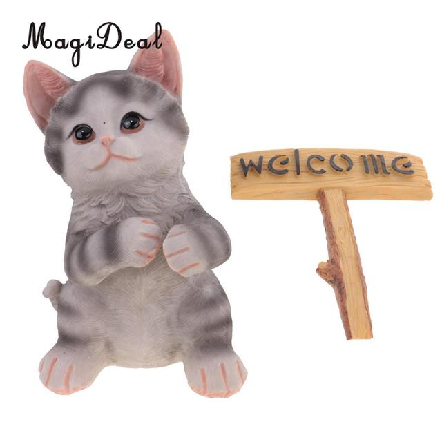 Cute Resin Maine Coon Cat Figurine With Welcome Signs Home Garden Decor  Resin Craft Ornaments