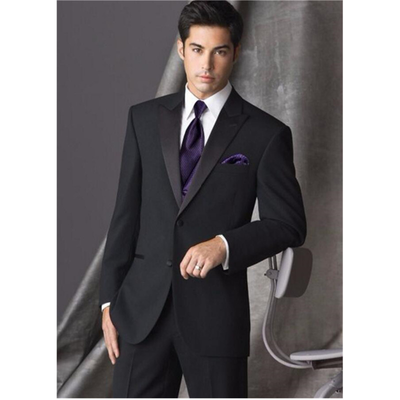 New Design Two Button Black Groom Tuxedos Groomsmen Men s Wedding Prom font b Suits b