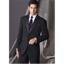 New Design Two Button Black Groom Tuxedos Groomsmen Men's Wedding Prom Suits Custom Made (Jacket+Pants+Tie)