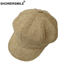 SHOWERSMILE Octagonal Cap Hat Women Khaki Linen Newsboy Beret Caps Ladies Summer British Painter Female Vintage Baker Boy
