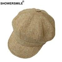 SHOWERSMILE Octagonal Cap Hat Women Khaki Linen Newsboy Beret Caps Ladies Summer British Painter Female Vintage Baker Boy Hat