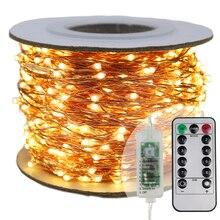 Самый длинный светодиодный светильник-гирлянда s 30 м 50 м 100 м уличный светильник-гирлянда уличный Рождественский Сказочный светильник s теплый белый Звездный светильник+ адаптер