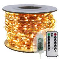 The longest LED String Lights 30m 50m 100m street garland Light Outdoor Christmas Fairy Lights Warm White Starry Light + Adapter