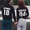 2017 Fashion QUEEN REY Carta Amantes Pareja Camisetas de Manga Larga Con Capucha Sweatershirts Casual Tank Top