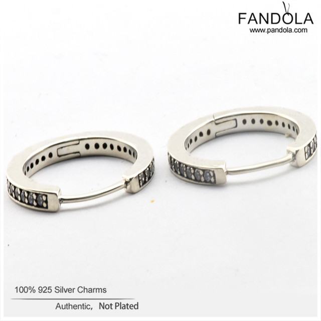 Authentic 925 Sterling Silver Hoop Earrings with Cubic Zirconia Silver Earring for women Fashion Jewelry FLE033