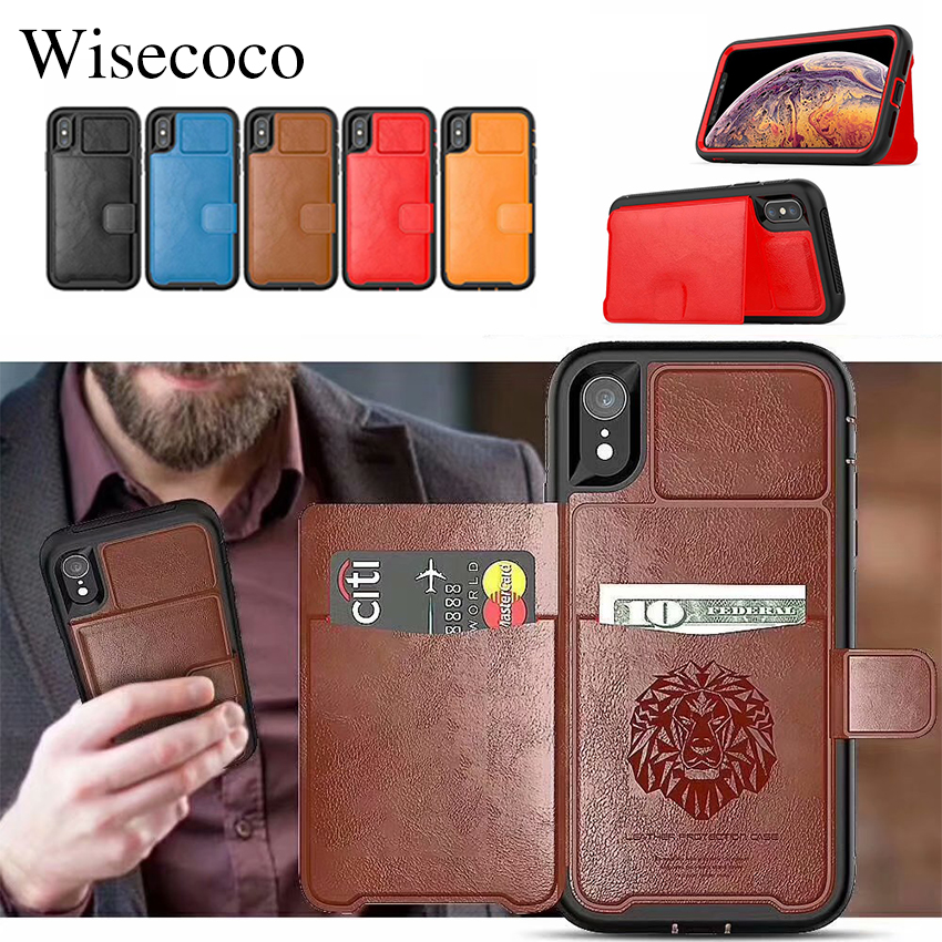Luxury Wallet Leather Case for Iphone Xs Max Xr X 8 7 6s Plus Card Stand Hybrid Bumper Hard Back Cover For Samsung Note9 S9 Plus