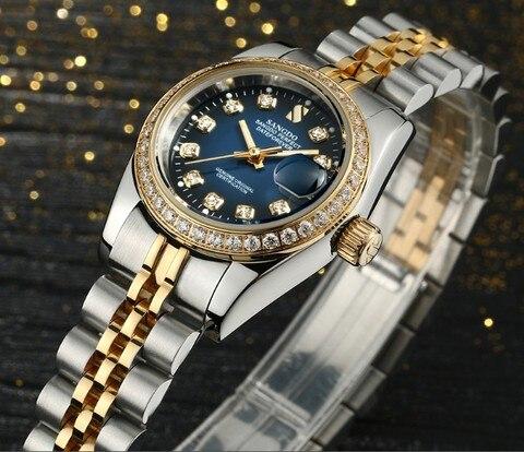 Relógios para Mulheres de Luxo de Alta Sangdo Azul Dial Movimento Automático Auto-vento Relógios Mecânicos Qualidade 022 s 28 mm Mod. 115512