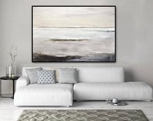 Hand-painted Abstract Painting Large Original Oil Modern Art Taupe White Brown Contemporary Design Canvas Free Shipping