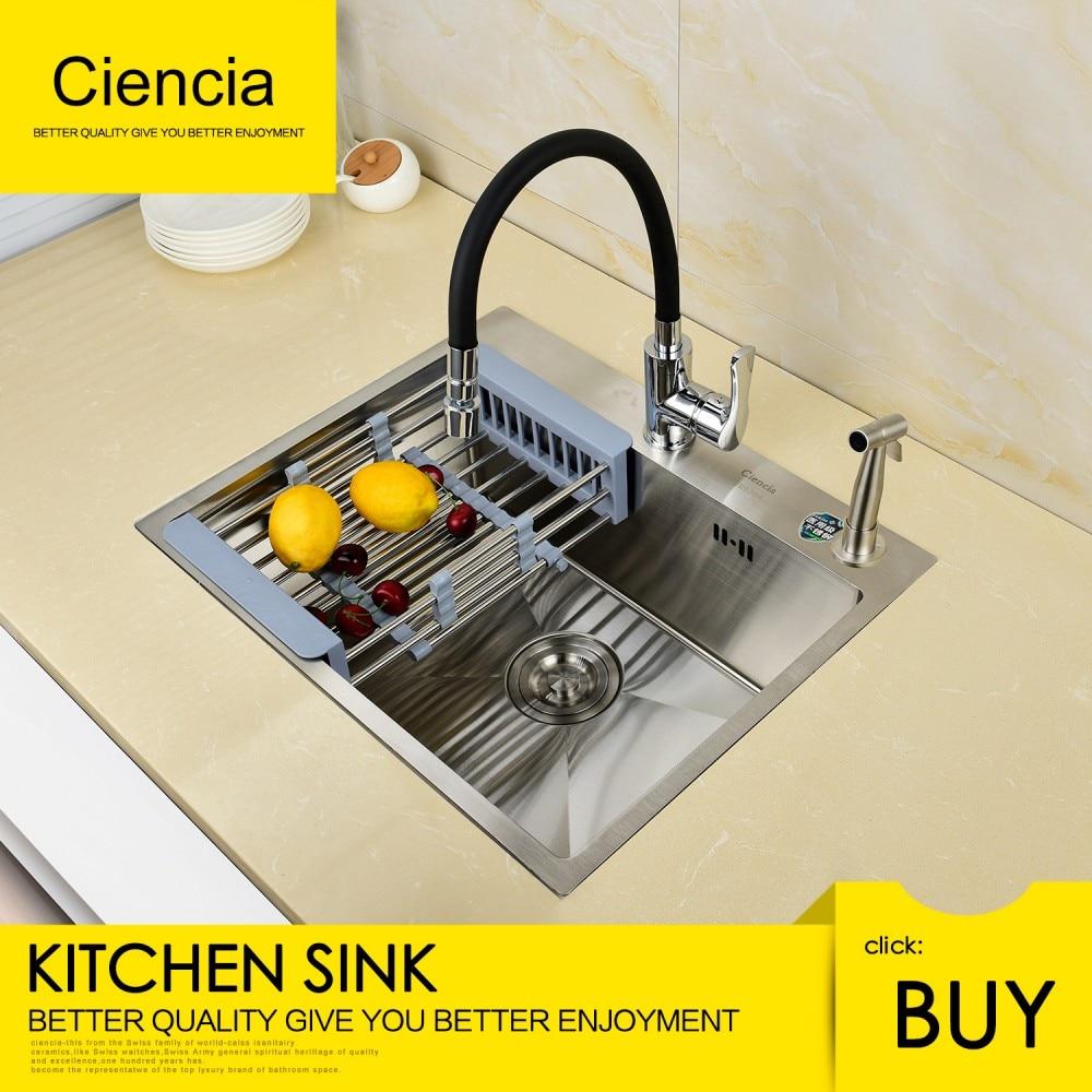 Livraison gratuite Ciencia évier de cuisine à bol unique en acier inoxydable Nickel brossé avec robinet pour cuisine