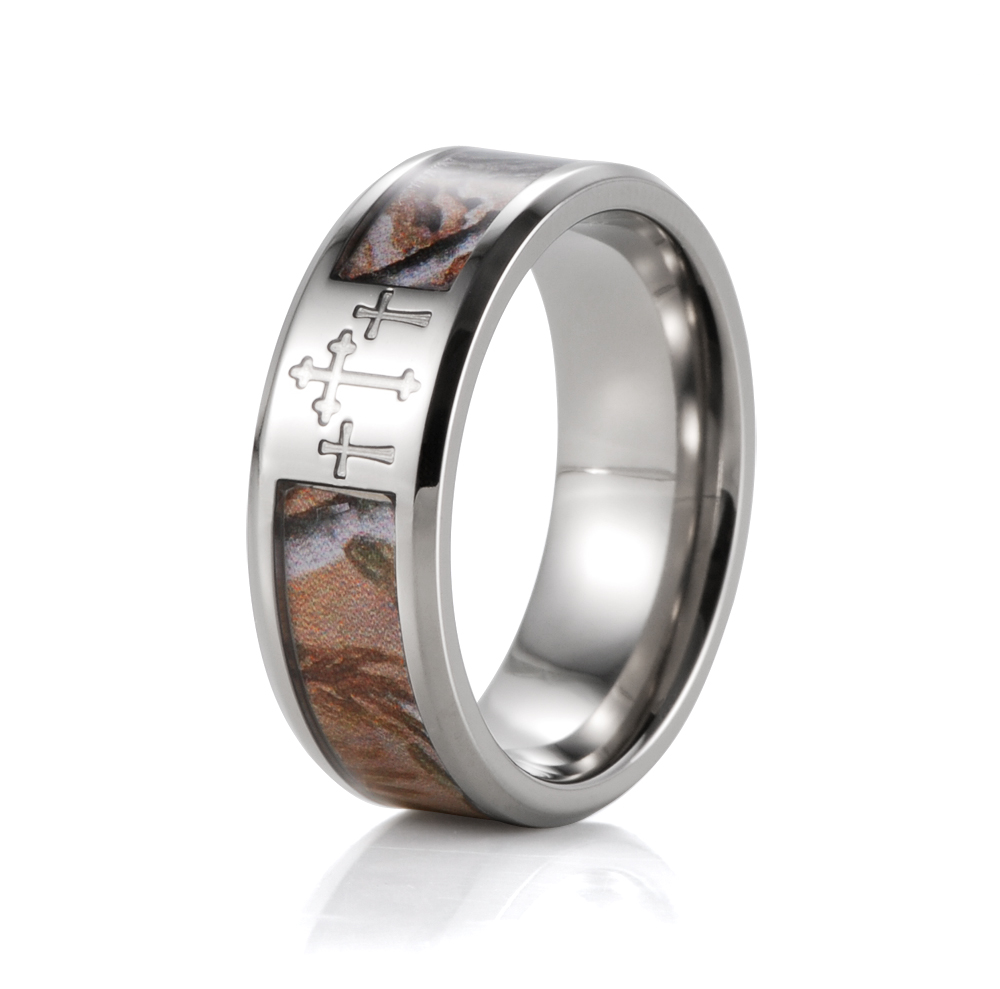 SHARDON Three Cross Camo Men Rings 8mm Titanium Mossy Oak Band Wedding Band Men  Jewelry Wedding Ring Band For Men Free Shipping In Rings From Jewelry ...