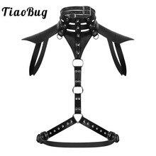 TiaoBug Men Black Faux Leather Harness Belt Metal Rings Male Halter Body Punk Gothic Crop Top Hot Sexy BDSM Bondage Rave Costume