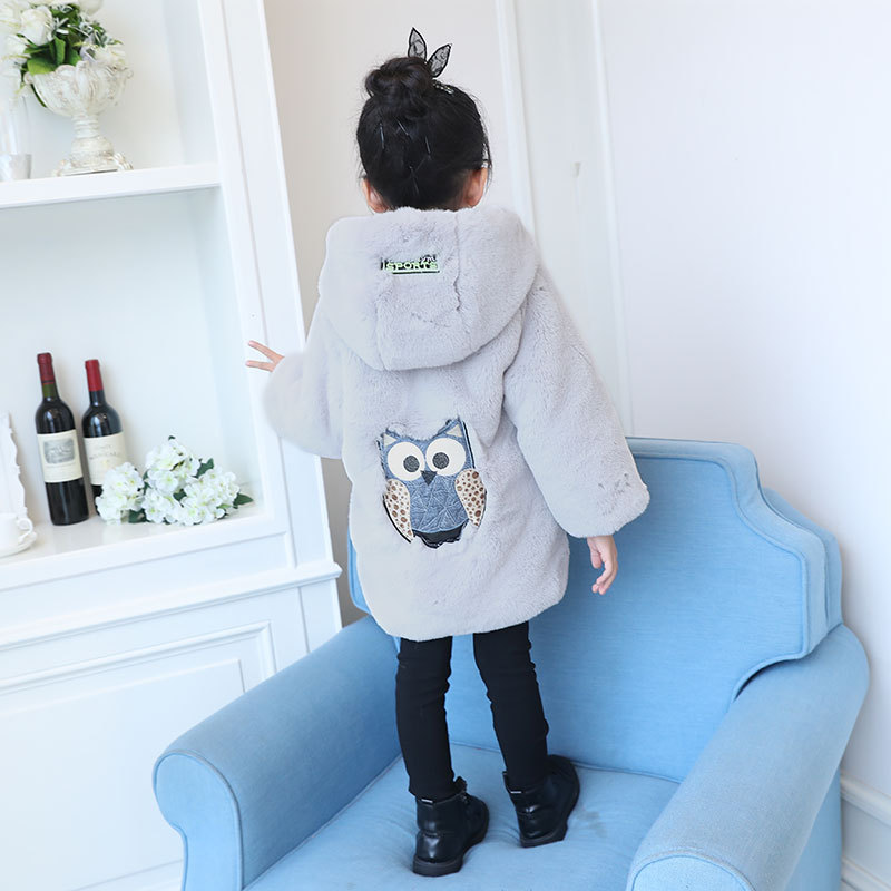 Girls Thick Plus Velvet Coat Warm Cartoon Owl Pattern Jacket Kids Faux Fur Fleece Coat Xmas Snowsuit Outerwear Children Clothes