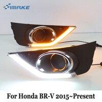 Smrke DRL для Honda BR V brv 2015 ~ 2017 ~ присутствует/водить автомобиль, дневной Бег Light & желтый световой сигнал/два Цвета стайлинга автомобилей