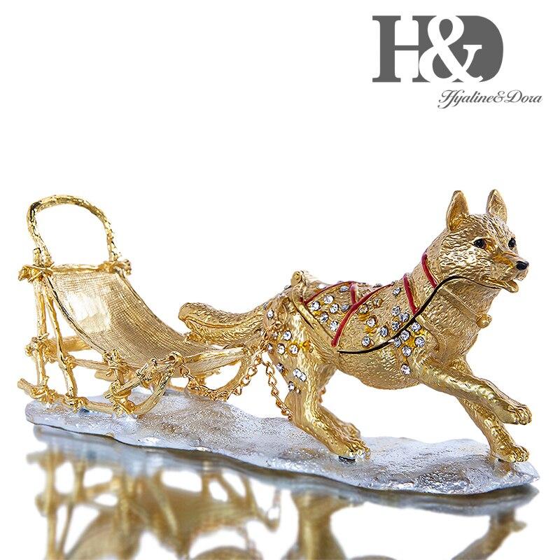 H & D boîte à bibelots Husky peints à la main | Émail et bijoutier, porte-anneau, bijoux articulé, Figurine de collection avec boîte-cadeau
