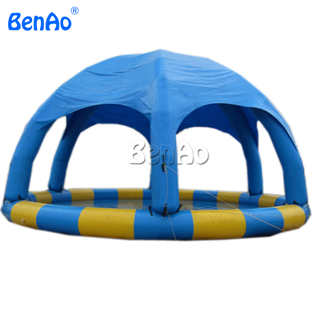 W017 BENAO  Dia 8m 26.5ft  Inflatable water pool with dome tent, fit for 8-15pcs water ball    Repair kits & CE/UL pump for free funny summer inflatable water games inflatable bounce water slide with stairs and blowers