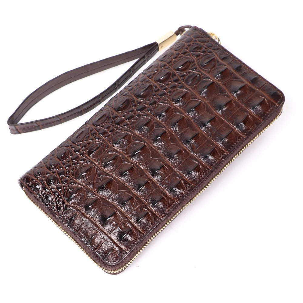 Long Wallet Real Crocodile Skin Man Crocodile Belly Leather Hand Man Grab Man's Wallet Clip Europe And America 003tb