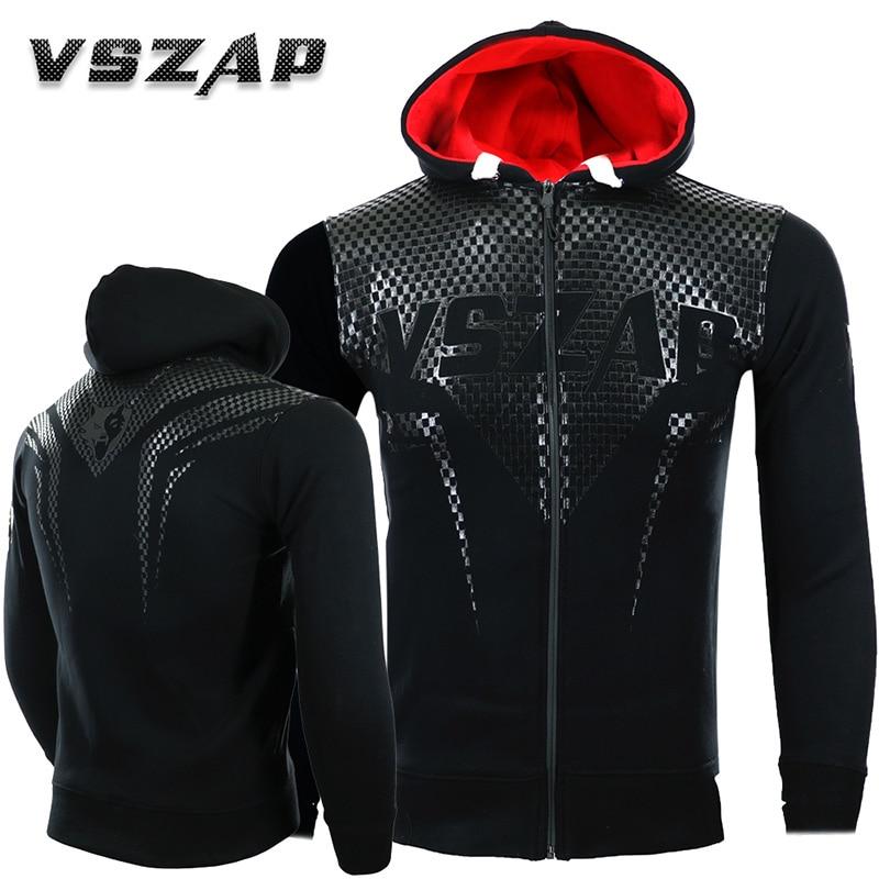 VSZAP Men's Hoodie Jacket Long Sleeve Zip Hooded Sweatshirt Mma Muay Thai Long-sleeved Sportwear