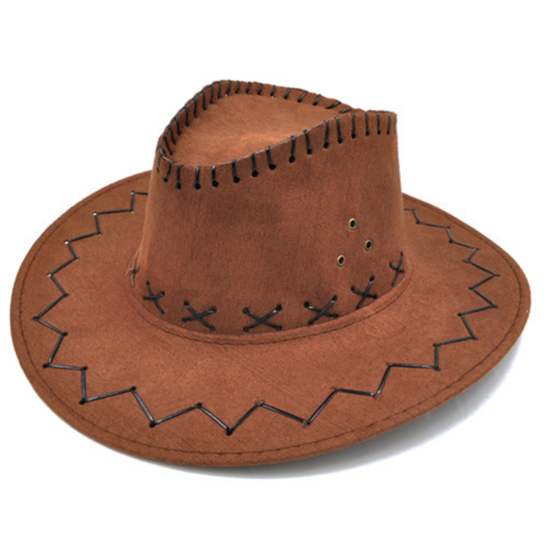 NEW ADULTS BROWN TOP HAT ADULT  FANCY DRESS  COWBOY UNISEX SUEDE LOOK WILD WEST