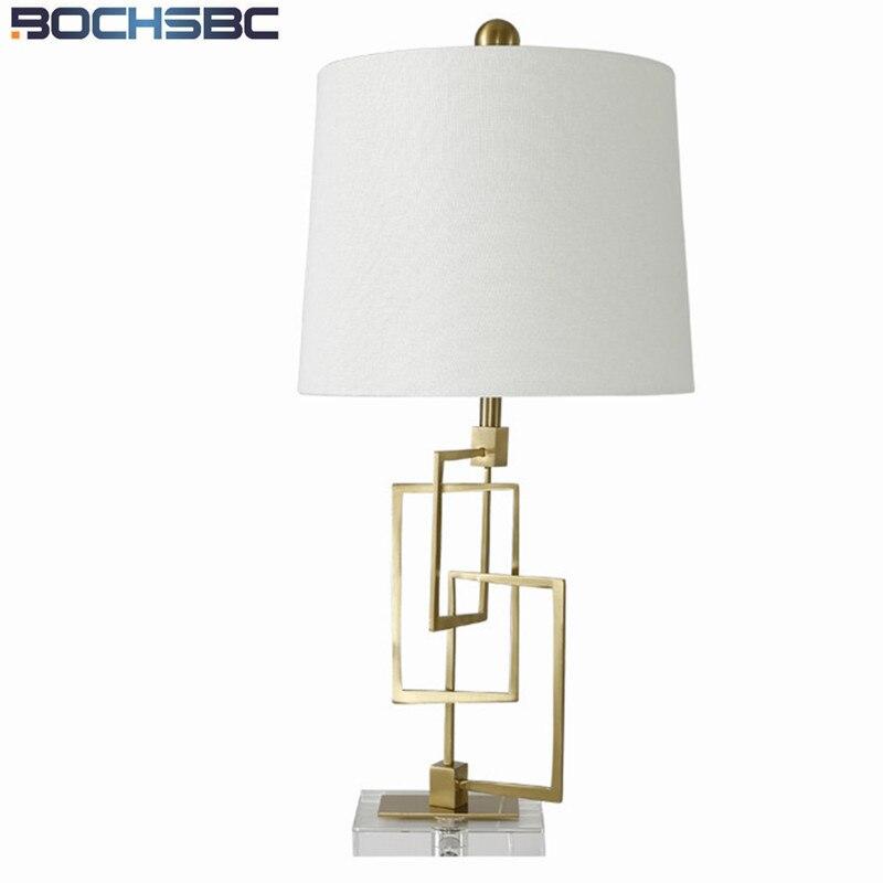 Творческий Простой Спальня свет стол Металл Кристалл ночники дизайнер Гостиная исследование Ткань настольная лампа современный H66cm