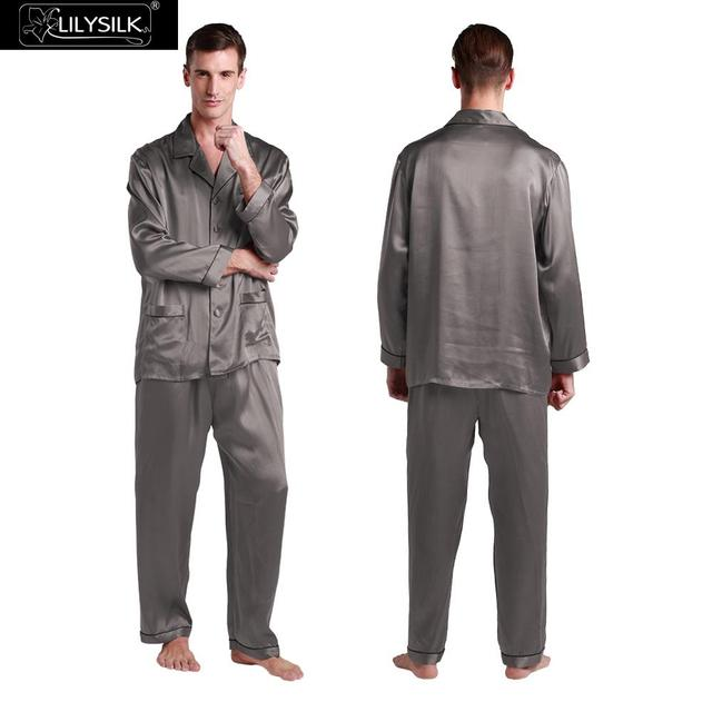 Lilysilk 100% Nature Silk Pajama Man Homewear Sleepwear Sleep 19 Momme Pure Shirt With Classic Pants Pyjamas Suit  Dark Gray L