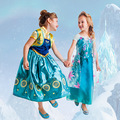 Free Shipping Retail Girl Dresses Children Dresses Party Dress Costume Carnival Halloween Christmas Party Anna Elsa Princess