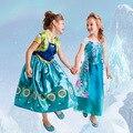 Frete Grátis Vestidos Da Menina de Varejo Crianças Vestidos Vestido de Partido Do Traje do Dia Das Bruxas Carnaval Festa de Natal Anna Elsa Princesa