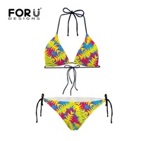 Popular Women Sexy Triangle Bikini Set Beachwear Push Up Padded Bra Bandage Bikini Set Yellow Printed
