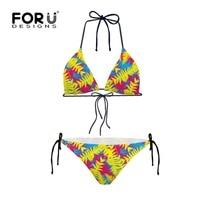 Popular Women Sexy Triangle Bikini Set Beachwear Push Up Padded Bra Bandage Bikini Set Yellow Printed